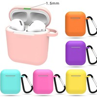 Colorful Case for Apple AirPods Portable Dustproof Earphones Protector Silicone Skin Strap Air Pod Cover