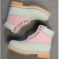 Timberland Rhubarb boots for men and women shoes waterproof Martin boots lovers Beige-pink