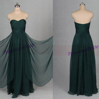 Unique elegant evening dresses affordable,latest forest green chiffon prom dress for women,floor length bridesmaid gowns for wedding party.
