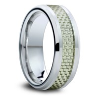8mm Tungsten Carbide Wedding Band with a Grey Carbon Fiber Inlay