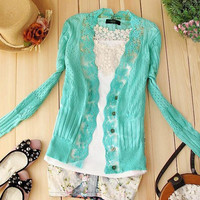 A 071816 Lace collar sweater