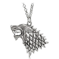 Antique Silver Necklacce Pendant Keychain for Thrones Game (Silver)