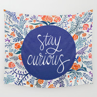 Stay Curious – Navy & Coral Wall Tapestry by Cat Coquillette