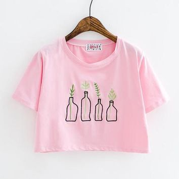 Plants Bottle Embroidery Crop T-shirt sold by Moooh!!