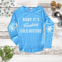 Holiday Baby Its Cold Outside Tee - Womens Holiday Fashion