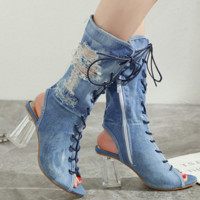Hot style cool boots with thick crystal and denim toe strap
