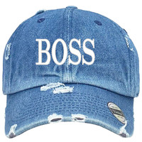 Boss Embroidered Distressed Baseball hat