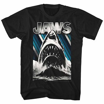 Jaws T-Shirt Giant Shark Blue Stripes Poster Black Tee