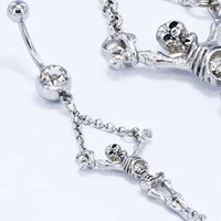 New Charming Dangle Crystal Navel Belly Ring Bling Barbell Button Ring Piercing Body Jewelry = 4804936068