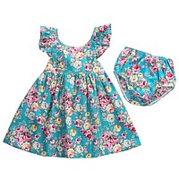 2PCS Kid Clothing Set born Baby Girl Clothes Summer Floral Ruffle Dress Sundress Briefs Outfits