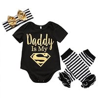 Daddy is My Superman Short Sleeve Romper 3PCS Outfitt