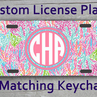 Custom Monogrammed personalized license plate. Lily Pulitzer inspired Vanity car tag #2196