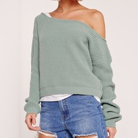 Missguided - Green Cropped Off shoulder Sweater