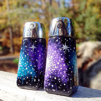 Hand painted galaxy salt and pepper shaker by ArianaVictoriaRose