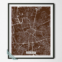 Dortmund Print, Germany Poster, Dortmund Poster, Germany Street Map, North Rhine-Westphalia, Wall Art, Home Decor, Back To School