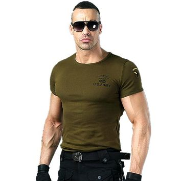 Men's US Military Stretch Cotton Shirt Top Tee