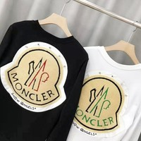 MONCLER New fashion bust and back embroidery letter high quality couple long sleeve top sweater