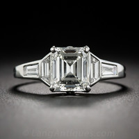 1.45 Carat Emerald Cut Diamond Art Deco Engagement Ring - 10-1-7081 - Lang Antiques