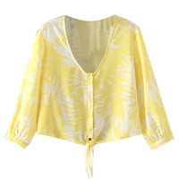 Yellow Tie Up Blouse