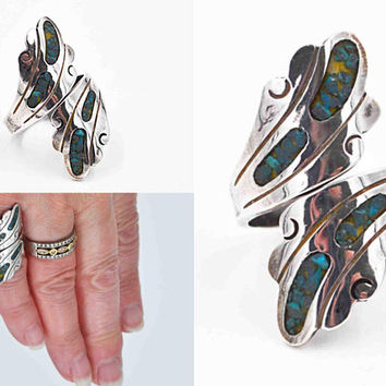 Vintage Taxco Sterling Silver & Turquoise Chip Inlay Bypass Ring, Miguel Garcia Martinez, Early Mexico, Size 6 3/4, Eagle #3  #c474