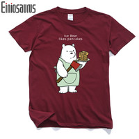 We Bare Bears T-shirt For Men Short Sleeve Cotton Casual Men Tops Anime Cartoon T Shirt For Male 3D Printed White Grey Tees