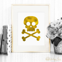 Halloween decor, Halloween printable, Skull and crossbones wall art, faux gold foil decor 8 x 10 (Printable - Instant digital download- JPG)