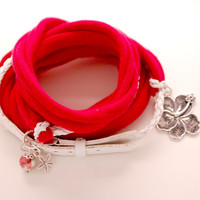 WHITE Leather and RED Stretch Wrap Bracelet Fashion accessory Women Teens Wrist Tattoo Cover