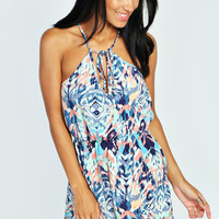 Lucy Keyhole Tie Front Blurred Print Playsuit
