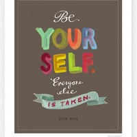 """Oscar Wilde """"Be Yourself"""" Quote Print: 11″ x 14″"""