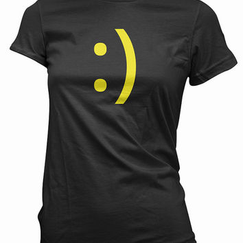Smiley Face Geek T-Shirt - emoticon tee shirt, the original smiley, mens, womens, gift, nerdy tshirt, computer programmer, coder, emote