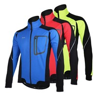 Long Sleeve Winter Warm Thermal Running Jacket ARSUXEO Windproof Breathable Sport Jacket Bicycle Clothing Cycling MTB Jersey