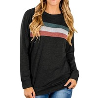 Women Casual Multicolor Stripe Round Neck Long Sleeve Sweater T-shirt Tops