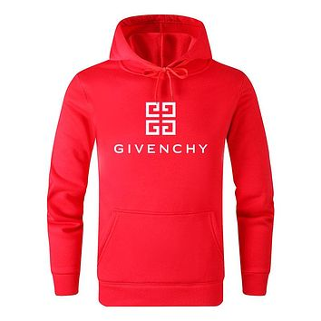 Givenchy Autumn And Winter Fashion New Letter Pattern Print Women Men Hooded Long Sleeve Sweater Top Red
