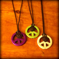 Peace Sign Necklace // Green // Purple // White // Stone Peace Sign // Hippie Jewelry // Boho Necklace // Yoga