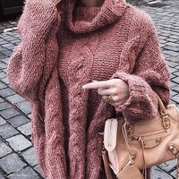 New Pink High Neck Long Sleeve Oversize Casual Pullover Sweater