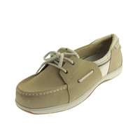 Ryka Womens Cayman Leather Contrast Trim Boat Shoes