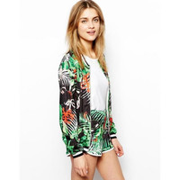 Leaves And Floral Print Long-Sleeve Zipper Jacket
