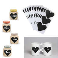 Removable Heart Pattern Chalkboard Label Chalk Pen Stickers Wall Kitchen Cup Bottle Decor Sticky Decal Gift 36pcs