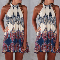Sleeveless Printed Mini Zippered Dress