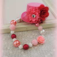 Adult fascinator hat and adult chunky beaded necklace set, pink adult bubble gum necklace jewelry, steampunk accessories, shabby chic