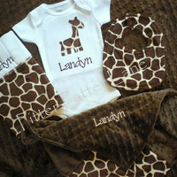 Baby Boy Gift Set - Personalized Onesuit, Burp Cloth, Minky Lovey and Dribbler Bib - Giraffe