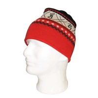Browning Nordic Knit Black and Red Beanie