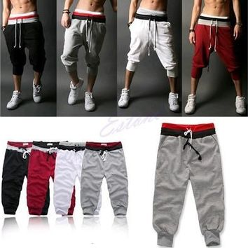 Men Sports Pants Harem Training Dance Baggy Jogger Casual Trousers Shorts Slacks [9305657095]