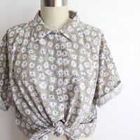 Vintage 80s White Daisy Print Oversized XL Cotton Button Up Shirt