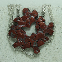 Puzzle Pieces Necklace Set of 5 Broze Best Friend Pendants Polymer Clay