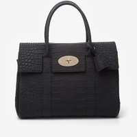 Mulberry Bayswater Textured Croc Print Tote: Black-All-Bags-Categories- IntermixOnline.com