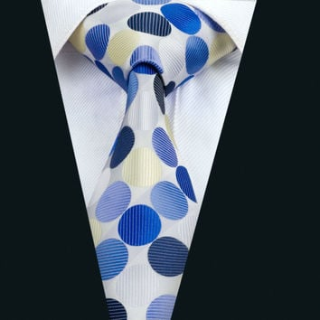New Arrival Fashion Men`s Tie Blue Novelty NeckTie Silk Jacquard Ties For Men Business Wedding Party