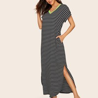 Neon Trim Pocket Side Split Curved Hem Dress