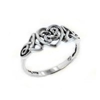 Sterling Silver Celtic Trinity Knot Heart Ring Size 6(Sizes 3,4,5,6,7,8,9,10,11,12,13,14,15,16)