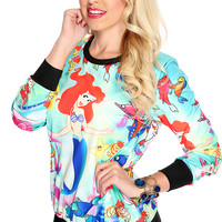 Mint Red Cartoon Character Print Pullover Sweater